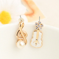 Brincos Min.order is$10   new arrival product   pearl eoa music white violin asymmetrical stud earring e9366b