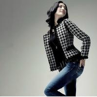 Jackets women fashion women's outerwear jacket houndstooth woolen pinioning short jacket ol elegant blazer winter jacket women