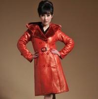 Thickening fur one piece genuine leather women's fashion paragraph skin nick coat