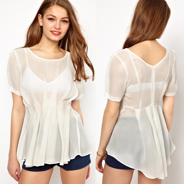 Women-s-Back-Zipper-Solid-Color-Short-Sleeve-O-Neck-Ladies-Sheer
