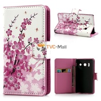 Pink Plum Card Slots Leather Case Stand For Huawei Ascend Y300c U8833 Free Shipping