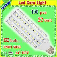 led corn e27 22w bulb light 132 leds 5050 smd in ac 110v_360 degree light angle eclairage led warm / white free shipping