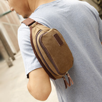 Canvas male bag waist pack mobile phone bag wallet small shoulder bag chest pack sports key wallet bag 2013