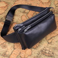 Waist pack male genuine leather male casual cowhide outdoor big bags genuine leather wallet messenger bag chest pack key wallet