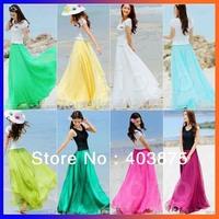 Free Shipping Drop Shipping 2014 NEW Long Skirts 8 Colors Bohemian Women's Clothes Chiffon Maxi Skirt Long To Floor