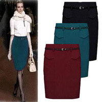 2013 New Spring/Autumn/Winter Woolen Long Pencil Skirts For Women Formal Skirt/woman Slim Hip skirt Fashion Red,Black,Grey S~3XL