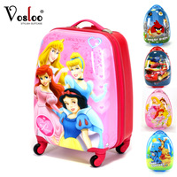 Vosloo child kids small trolley luggage travel bag suitcase school bag carton multicolor 18inch with spinner wheels
