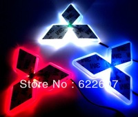 Mitsubishi car sticker LOGO lamp series of specialized automobile lights LED badge light stickers Red  Blue White  Free shipping