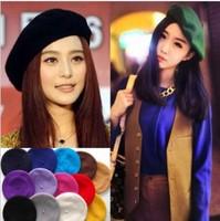 Fashion 2013 Women Causal Solid  Cap Full 100% Wool Hat female Winter and Autumn Cap Women Berets 5 pcs/lot free shipping