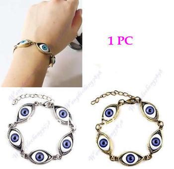 Free Shipping 2pcs/lot Retro Gothic Punk European Style Unique Blue Eyeball Design Bracelet Wristband