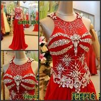 Luxury crystal formal dress formal dress toast the bride married formal dress evening dress xj3840