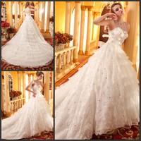 2013 sparkling sexy wedding dress bandage tube top train wedding dress bride xj17