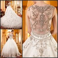 Ultimate luxury crystal wedding dress new arrival straps 2013 train wedding dress princess wedding dress xi6315