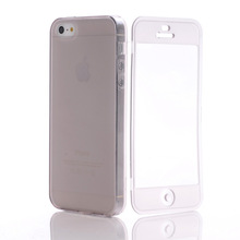50pcs/lot free shipping smart TPU Case With Transparent Touch Screen Protector Flip Cover Pouch for apple iphone 5(China (Mainland))
