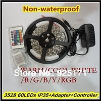 SMD 3528  300LEDs Non-waterproof 5m/roll LED Strip Light +24 Keys IR Remote+12V 2A Power Adapter RGB/W/B/Y/R/G