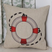 Quality Sailor Series Linen Cotton Throw Pillow Cover Vintage Life Buoy Pattern Pillowcase Cushion Cover