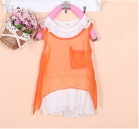 Children's clothing female child dress cotton short-sleeve 100% 2 piece set gentlewomen skirt sleeveless