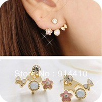 Cute Star Bow Flower Pink Pearl Stud Earrings With Rhinestones Fashion Jewelry Woman Free Shipping Mini Mixed Order 10USD