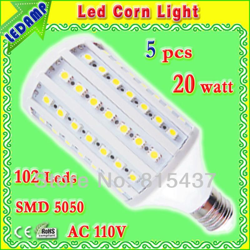 102 epistar smd 5050 led e27 corn bulb 20w degree 360_e27 led 6000k light bulb home use ac 110v free shipping 5 pcs/lot(China (Mainland))