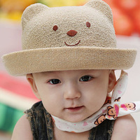 Child hat baby strawhat sun hat baby hat bear style bucket hats