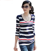 2013 autumn clothes women's basic stripe navy style shirt long-sleeve T-shirt Women slim
