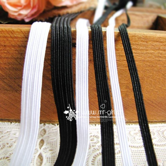 Diy handmade clothes material 3mm5mm8mm latex elastic strap black white rubber band belt(China (Mainland))