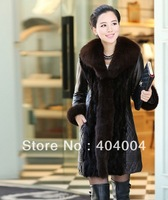 Genuine leather large fox fur outwear,plus size long Down Coat Leather Outerwear Huge Fox Fur brown jackets coats M-3XL