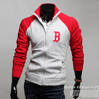 2012 autumn and winter classic baseball series fleece sweatshirt male casual cardigan zipper outerwear