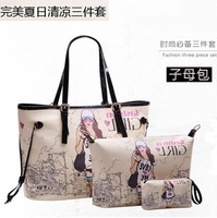 Fashion piece set women's handbag picture package beauty set piece women's handbag cartoon shoulder bag big bag  Free Shipping