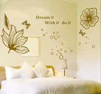 Free Shipping Wholesale-- Flower Wall Sticker 10Sets/Lot The Decoration Of Home Wall Stickers Decor 90x60CM