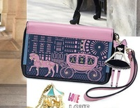 Little princess preppy style little princess purse cartoon color block women's short design wallet  Free Shipping