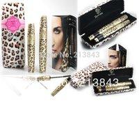 2Pcs/Set New Waterproof Black Long Endless Extension Eyelash Conditioner+Fibre Mascara Eyelash Grower Makeup Kit Leopard Print