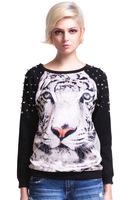 2013 Autumn Punk Studs Hoodies Women 3D Tiger Printed Pullovers Rivet Neck Long Sleeve Loose Sweatshirts New