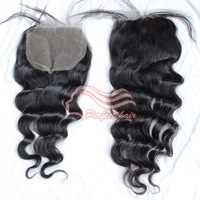 "Brazilian virgin hair queen hair loose wave lace top closure size 4""*4"" unprocessed top quality 1pc/lot color 1B  free shipping"