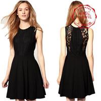 Free shipping,Hot sell,2013 New Women Hepburn Style Feminine Type Little Black Dress fashionable hollowed-out lace waist dress
