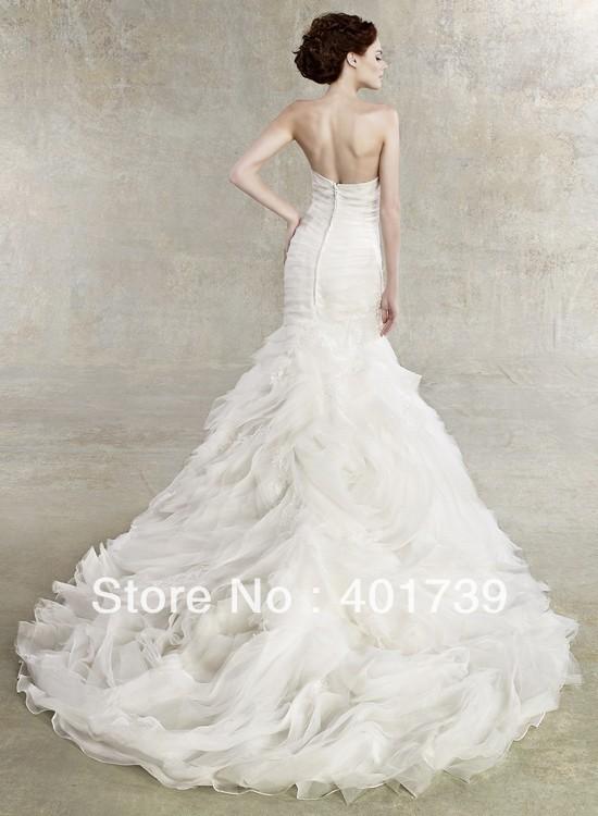 Fishtail Wedding Dress With Ruffles : New arrival organza fishtail mermaid wedding dress