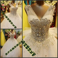 Free shipping 2013 New design real sample luxuriant crystal plus size Formal Royal Tulle Bandage Princess wedding Dresses xj13