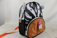 2013 New   Cute Zoo  zebra  Cartoon  School Bags Mini Oxford Canvas Backpack Gift for Children school Kids bagback
