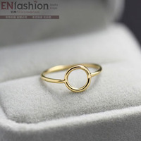 18KGP gold plated fashion circle ring middle ring fashion wedding ring 316L stainless steel jewelry wholesale free shipping