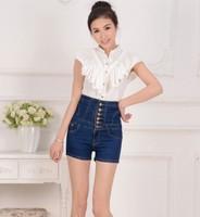 2013 new summer solid dark blue women slim denim short, high quality cotton lady denim pants NZK0007