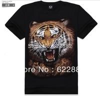 2013 new mens t shirt summer fashion men brand 3d T shirt  casaul cotton t shirts man  tiger Monsters Pattern t shirts tops tee