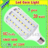 ac 220v e27 led 20w neutral white corn lamp bulb 360 degree_102 leds 5050 smd led lamps lighting free shipping 5 pcs/lot