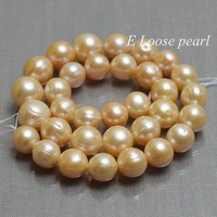 Round Potato pearl Freshwater Pearl Pale pink Loose Beads 11.5-14.0mm 34pcs Bridal design Wedding Full Strand Item No : PL2207