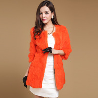 2013 autumn and winter rabbit fur women's three quarter sleeve medium-long outerwear
