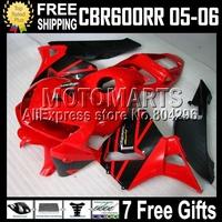 Fairing+7gifts For red black HONDA CBR 600 600RR 05-06 red black CBR600RR NEWMQ75 CBR600 RR F5 CBR600F5 CL420 05 06 2005 2006 Bo