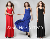 New Fashion Woman Sexy Slim Deep V-neck Long Sleeveless Prom Party Gown Evening Dress LF034