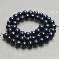 Round Potato pearl Freshwater Pearls Black Loose Pearl Beads 7.5-8.5mm 46pcs Full Strand Item No : PL2198