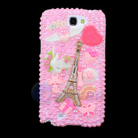 New Pink Pearl Diamond Eiffel Tower Case Cover For SAMSUNG GALAXY NOTE II NOTE 2 N7100 Cute Cartoon Cat Jewelry Free Shipping