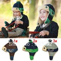 Latest Patchwork Children Winter Earflap Hats Kids Fleece Warm Hats Boy's Winter Caps 2pcs Free Shipping MZD-026