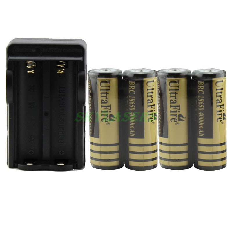 High Quality 4PCS UltraFire 4000mAh 3.7v Rechargeable Li-ion Battery With Protected PCB + Double Battery Charger Free Shipping(China (Mainland))